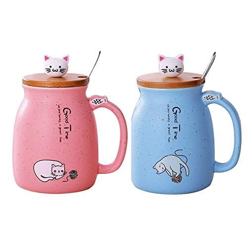 Lifemaison Cat Keramik Becher hitzebeständige Tasse mit Löffel Deckel Drinkware Kinder Geschenk mit Cartoon Katze Deckel Milch Kaffee Keramik Kinder Becher Büro 420 Ml (Rot+Blau)