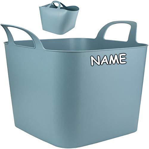 Flexi & flexibel - XXL großer - biegbarer - Aufbewahrungsbehälter mit Henkel - grau - inkl. Name - z.B. Garteneimer / Eimer / Wäschekorb / Trog / Bottich - Bl..