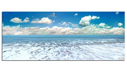 Dsign24 EG312500528, Stampa su vetro HD, motivo: Onde sulla spiaggia, 125 x 50 cm, (Bunt)