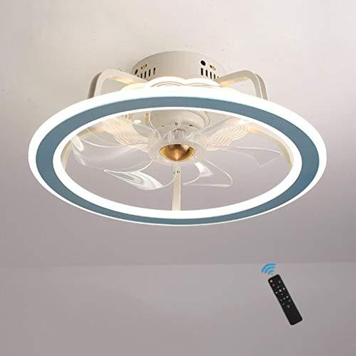 WJLL LED Ventilador De Techo Infantil,Velocidad del Viento Ajustable Remoto Control Regulable Ventiladores Techos con Iluminación 53W Silenciosa Invisible lámpara de Ventilador De Techo 7 Aspas,Azul