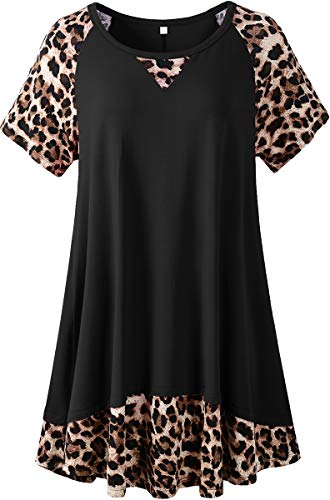 LARACE Leopard Tops For Women Plus Size Tunic Casual Summer Shirts Color Block Short Sleeve T-shirt(Black 4X)