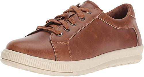 Deer Stags Boys' Kane Memory Foam Casual Dress Comfort Sneaker, Dark tan/Cream, 6.5 Medium US Big Kid