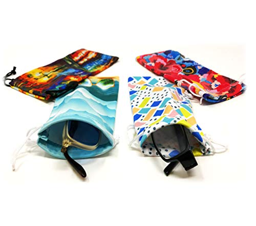 Eyeglass Pouches | Soft Silky Smooth Touch Cases for Storing & Protecting Glasses, Multicolor Unique Decorative Design Sunglasses & Reading Glasses (4 Pack)