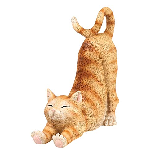 """What On Earth Cat Mobile Phone Holder - Sculpted Resin Kitty Shaped Cellphone Stand - 6""""L - Orange Tabby Cat"""