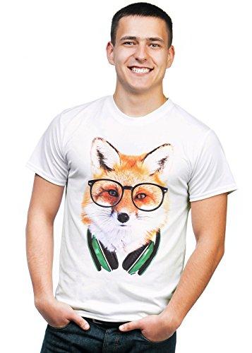 Retreez Funky Nerdy DJ Fox with Headphones & Glasses Graphic Printed Unisex Men/Boys/Women T-Shirt Tee - White - Large