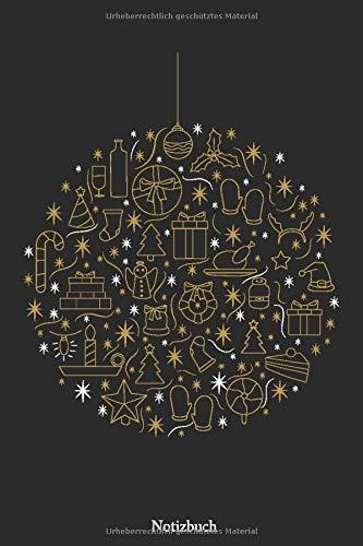 Notizbuch: Christbaumkugel mit Weihnachtsmuster 110 Seiten Notizbuch liniertes Papier | ohne Rand | glänzendes Softcover | Rezeptebuch, Schreibheft, Geschenkidee