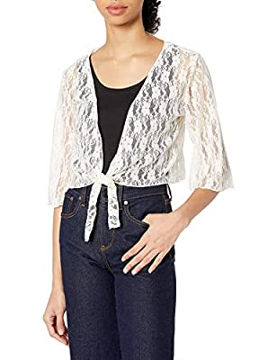 Star Vixen Women's Plus-Size 3/4 Sleeve Tiefront Shrug, Ivory, 3X