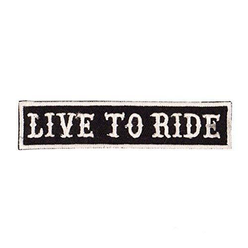 KUSTOM FACTORY - Parche con diseño de Live to Ride en blanco y negro