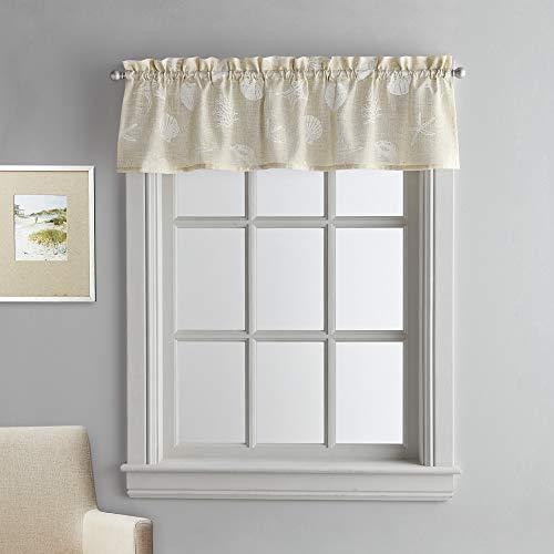 CHF Coastal Seashells Kitchen Curtain Window Valance, Rod Pocket, 54W x 14L inch, Linen