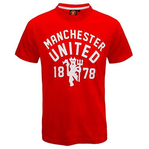 Manchester United FC - Herren T-Shirt mit Teufelsmotiv - Offizielles Merchandise - Geschenk für Fußballfans - Rot - S