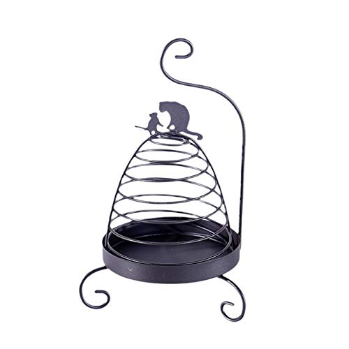NINEFOX Mosquito Coil Holder Storage Nordic Hanging Iron Art Candle Rack Cute Insect Repellent Home Bedroom Portable Rustproof Retro sy Use(Black Cat)