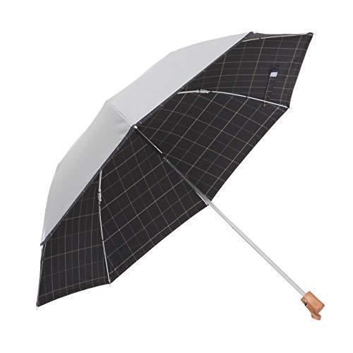 リーベン 日傘 晴雨兼用 折りたたみ シルバー/先染チェック <ひんやり傘> UPF50+ UVカット率・遮光率99%...