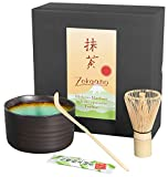 Aricola Matcha set 3 pieces, anthracite/turquoise, consisting of matcha bowl, matcha spoon and matcha brush (bamboo) in gift box. Original