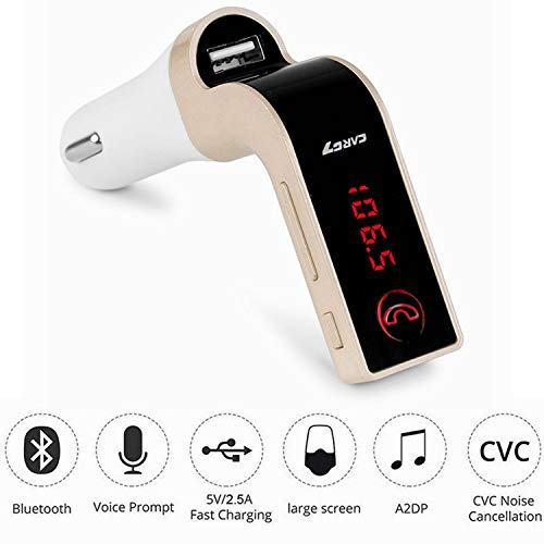 Bluetooth FM Transmitter for car,TIANSHILI handsfree bluetooth receiver Car Kit with Mic/TF Card/USB Drive/AUX Play for iPhone,iPad and Other Android Phones-Gold