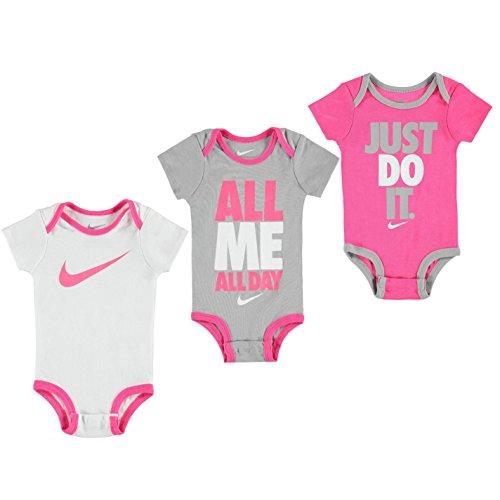Nike Baby Mädchen Spieler Bodysuits Strampler Mehrfarbig 3 Pack Rosa /Grau/Weiß Alter 0-6 Jahre