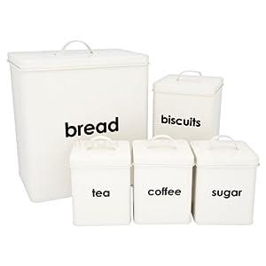 Lot de 5 boîtes de rangement pour pain/thé/café/sucre/biscuits