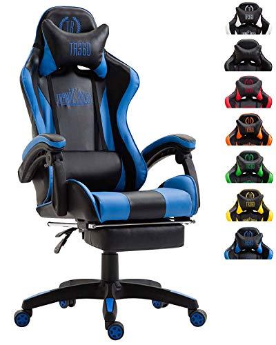 CLP Silla De Oficina Racing Ignite En Simil Cuero I Silla Gaming con 2 Cojines I Silla De Ordenador con Ruedas & Reposapies Abatible I Color: Negro/Azul