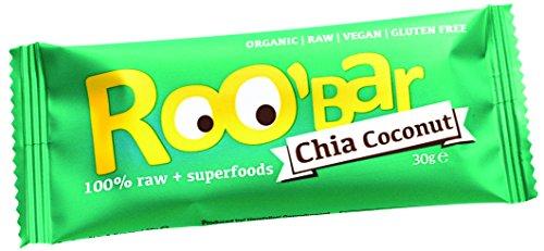 RooBar Barrita Energética Chía y Coco 100% Ecológica con Superalimentos - Vegana - Caja 20 X 30G