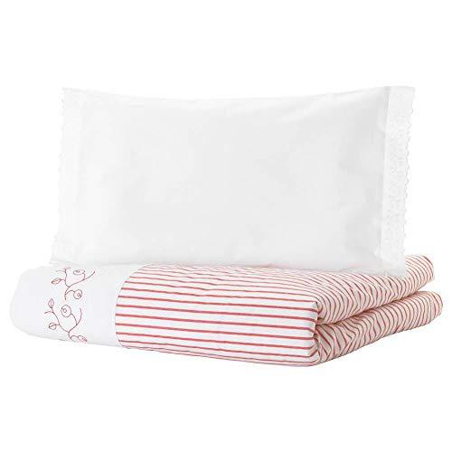 IKEA ASIA GULSPARV Bettbezug für Kinderbett, gestreift, 110 x 125 cm, 35 x 55 cm, Rot