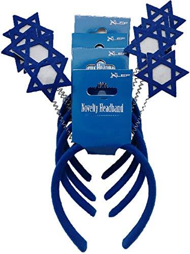 ALEF Hanukkah Star of David Novelty Headband 4 Pack Blue