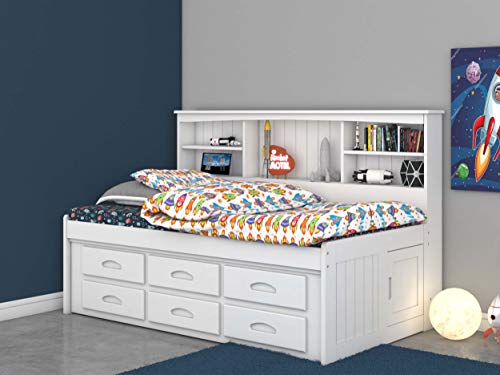 Discovery World Furniture Twin Bookcase Daybed with 6 Drawers White