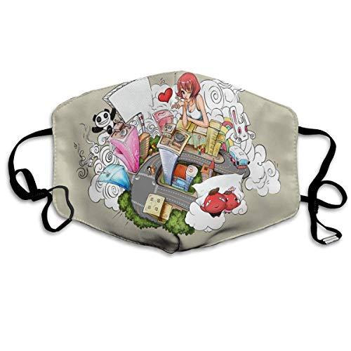 Preisvergleich Produktbild Vbnbvn Unisex Mundmaske, Wiederverwendbar Schutzhülle, Gesichtsmaske Girl's Life Waschbar Wiederverwendbar Mouth Masks for Man Woman