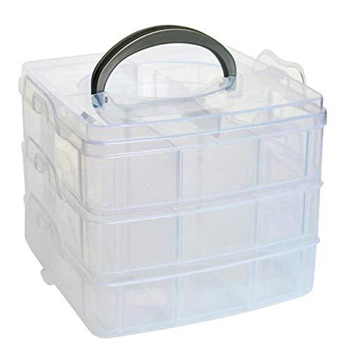 Sulifor Kleine dreilagige abnehmbare Aufbewahrungsbox aus 18 Gitternetz aus Kunststoff, transparente Kunststoff-Fertigkeitperlen, Schmuck-Aufbewahrungsorganisation, Werkzeugkoffer