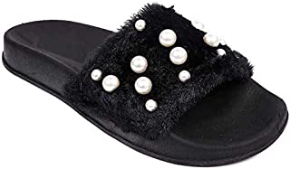 WMK Fasionable Pearls Flip Flops for Women
