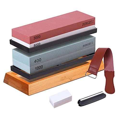 DONGRUI Piedra de afilar 400/1000/3000/8000 granos, kit de afilador de cuchillos 4 en 1 con base de bambú antideslizante, soporte de silicona, guía de ángulo y piedra de fijación