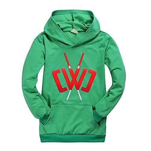 Spy Ninjas Hoodies Kids Camiseta de manga larga CWC Merch, verde, 110 cm