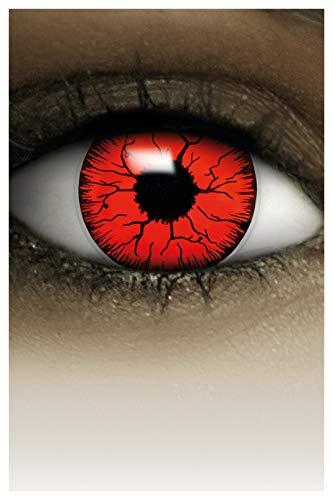 FXCONTACTS Farbige Halloween Kontaktlinsen rot DEVIL, weich, 2 Stück (1 Paar), Ohne Sehstärke