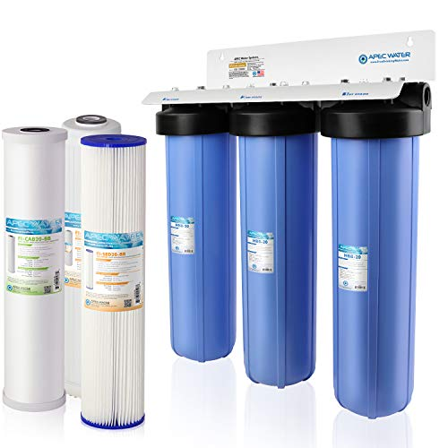 APEC Water Systems CB3-SED-KDF-CAB20-BB 3-Stage Whole House Water System with Sediment, KDF and Carbon Filters, Blue