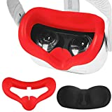 VR Silicone Face Cover Mask Combo with Protective Lens Cover for Oculus Quest 2 Facial Cover Sweatproof Lightproof Anti-Leakage (Red)