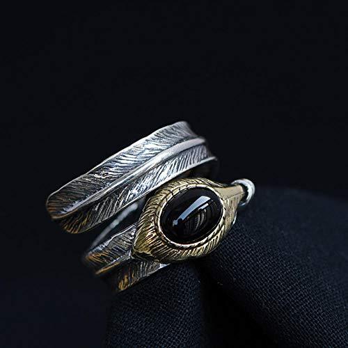 YYAMOMO Verstellbarer Herrenring Aus Sterlingsilber Persönliche Feder Cool Charm Neugestaltung Antike Exquisite Geschenkbox, Schmuck