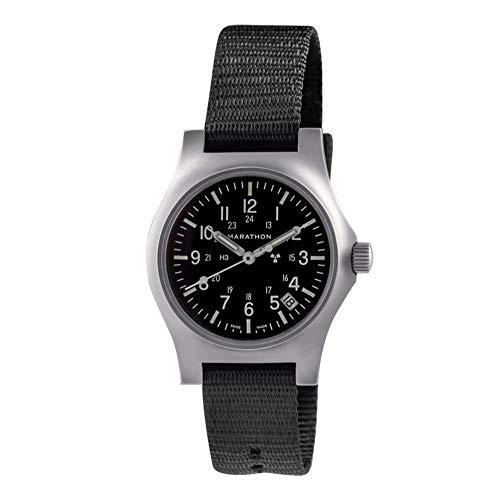 Reloj Marathon WW194015SS de acero inoxidable de uso general de cuarzo con fecha y tritio – 39 mm de caja a corona