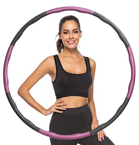 Watlike Hula Fitness - Aro para adultos / niños / principiantes, adelgazamiento y masaje, reducción de peso, aro desmontable de 6 a 8 segmentos para fitness, oficina o casa (rosa gris)