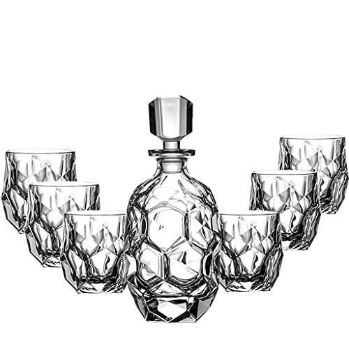 QIAOLI Wine Glass-300ml, Whiskey Glass, Foreign Wine Glass with Wine Bottle, 7-piece Wine Set, European Style Wine Set for Housewarming Party