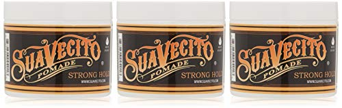 Suavecito Pomade Firme (Strong) Hold 4 oz, 3 Pack - Strong Hold Hair Pomade For Men - Medium Shine Water Based Wax Like Flake Free Hair Gel - Easy To Wash Out - All Day Hold For All Hair Styles