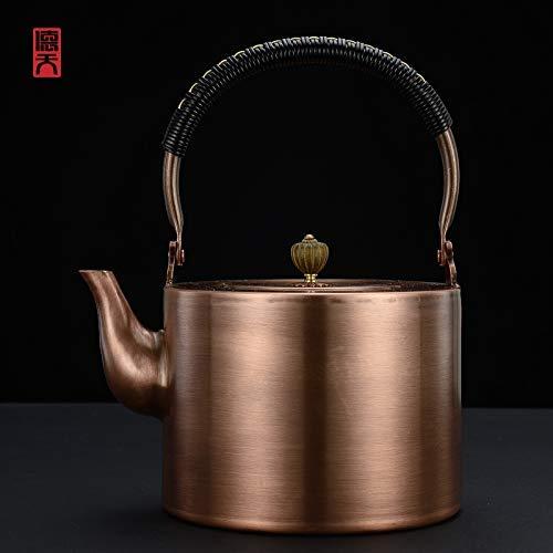 Tetera de cobre Tetera de cobre Tetera Detian Hecho a mano Pote de cobre grande Pote de cobre Sopa de té Pot de cobre Kung Fu Tetera Kettle Juego de té Lotus semilla Porridge Pure Cobre 2000ml, cintur