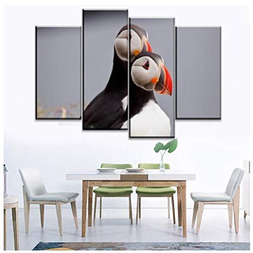 KPWAN Decoratie 4 stuks dieren papegaai duikers rode navel vogel poster moderne muurkunst woonkamer foto's canvas afdrukken geen lijst Size A Geen lijst