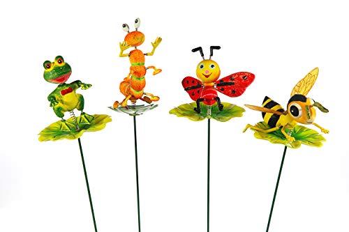 Cepewa 4er Set Blumenstecker Tiere auf Blatt, für Dekoration von Garten und Blumentöpfe, Beetstecker, Stablänge ca. 60cm