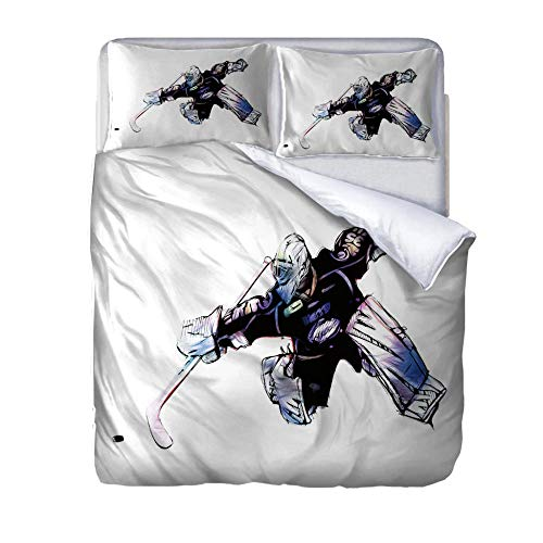 zzqxx Duvet Cover Set King Size Bed Hockey player Bedding Set Quilt Cover with Zipper Closure Includes Bedlinen 2 Pillowcases for Kids Teens Adults 230x220cm