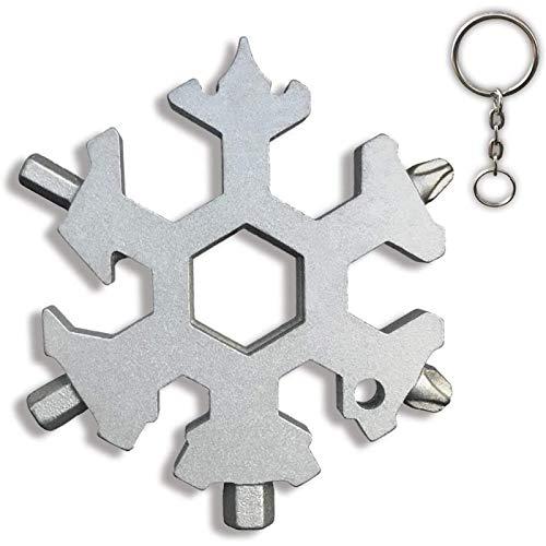 MRSDBTL 15 in 1 Incredible Tool Snowflake Multi Tool Stainless Steel StandardMetric Wrenches Screwdriver Keychain Bottle Opener Cool Gadgets