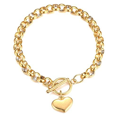 Chengxun Acero inoxidable O-chain 8mm círculo cadena amor corazón pulsera en forma de T oro pulsera de San Valentín regalo de cumpleaños