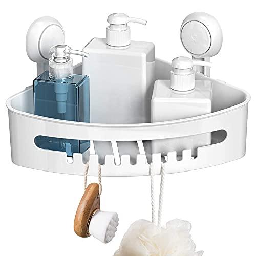 LJBOZ Estantes de Baño Ventosa de Plastico,Estanteria Esquina para Ducha y Cocina Baño Sin Taladro Estantes de Pared Cesta Estanteria Ducha con Ventosa Ventosas para Ducha