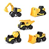 Micro Mini Construction Vehicles – Set of 5 Toy Cars and Trucks for Kids | Sensory Bin for Boys | Excavator Bulldozer Dump Truck Cement Mixer | Free Wheeling with Moving Parts – Maxx Action
