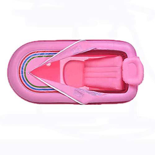 CHUTD Bañera Bañera Inflable Bañera Gruesa para Adultos Bañera Plegable Bañera de plástico Bañera de baño Parte Inferior Acolchada de algodón Asiento autoportante Bañera Plegable (Color: Pink)