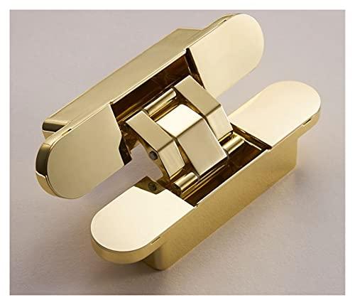 liangzai Bisagras de puerta de latón invisibles, bisagras de cojinete ajustables 3D, color dorado brillante, negro y cromo brillante (color: HA 60 dorado)
