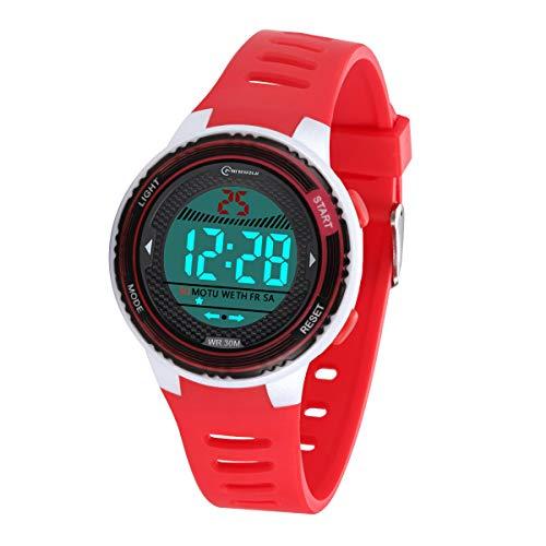 Kinder Digitaluhr, Funktionelle wasserdichte Jungenuhr Mädchen mit Zeit, Datum, Woche, Hintergrundbeleuchtung, Warnung, Stoppuhr Digital Uhr für Kinder (Rot 8563)