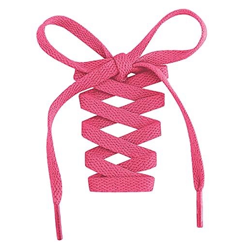 2 Paar- Flache Schnürsenkel, 8 mm Breite Premium Ersatz-Schnürsenkel für Turnschuhe, Sport-, Freizeitschuhe Hot Pink 120cm